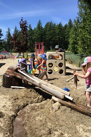 Art and play activities for daycare children both indoors and out